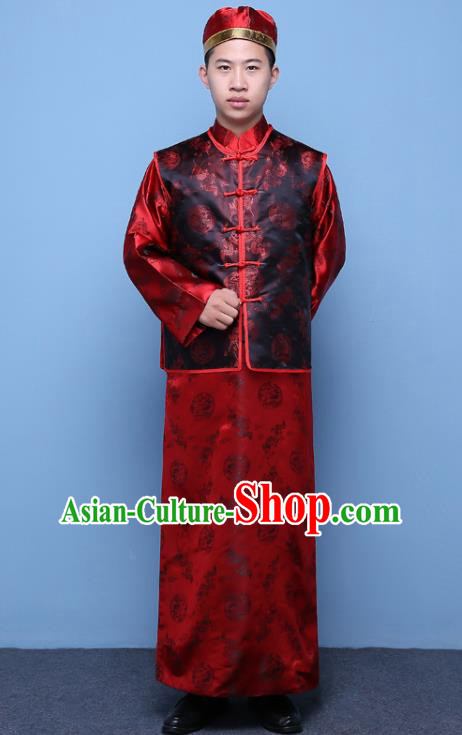 Traditional Ancient Chinese Qing Dynasty Prince Costume, China Manchu Nobility Childe Black Mandarin Jacket Clothing for Men