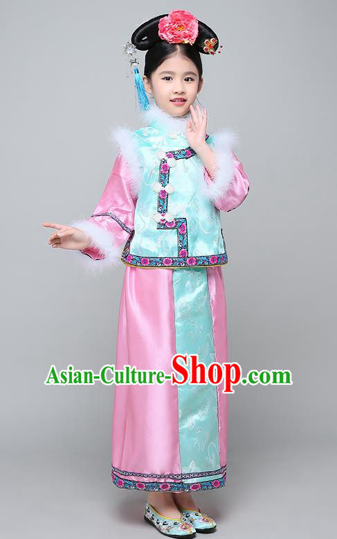 Traditional Ancient Chinese Qing Dynasty Manchu Lady Blue Costume, Chinese Mandarin Princess Embroidered Clothing for Kids