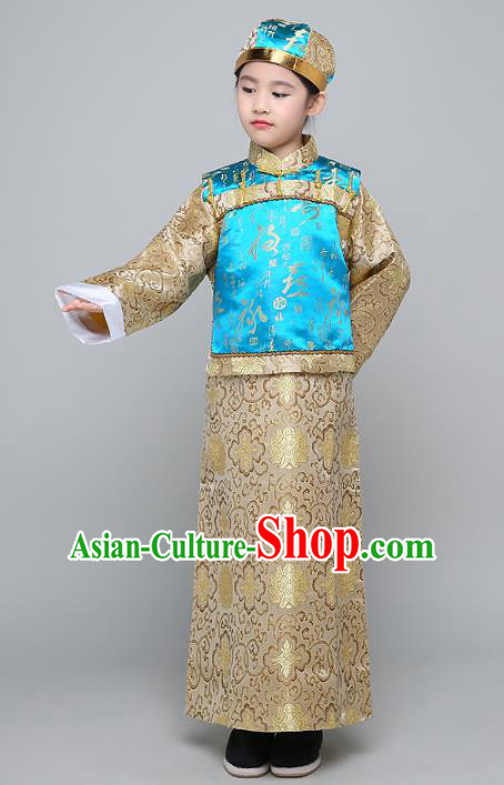 Traditional Ancient Chinese Qing Dynasty Manchu Prince Costume, Chinese Mandarin Nobility Childe Clothing for Kids