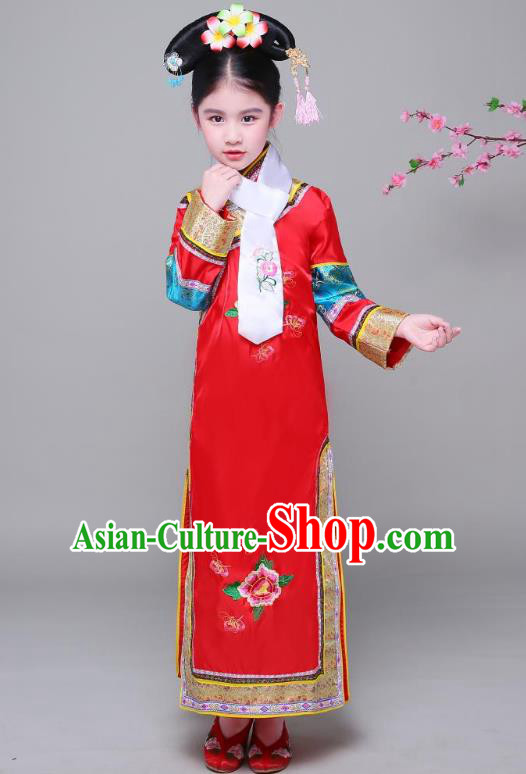 Traditional Ancient Chinese Qing Dynasty Princess Red Costume, Chinese Manchu Lady Embroidered Clothing for Kids
