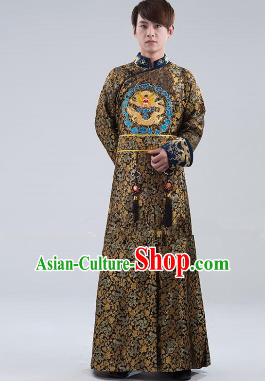 Traditional Ancient Chinese Qing Dynasty Prince Costume, China Manchu Nobility Childe Black Embroidered Robe Clothing for Men
