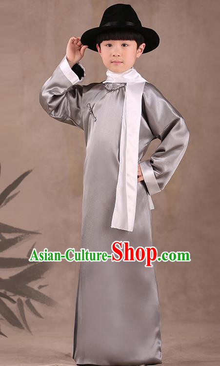 Traditional Chinese Republic of China Costume Children Grey Long Gown, China National Comic Dialogue Clothing for Kids