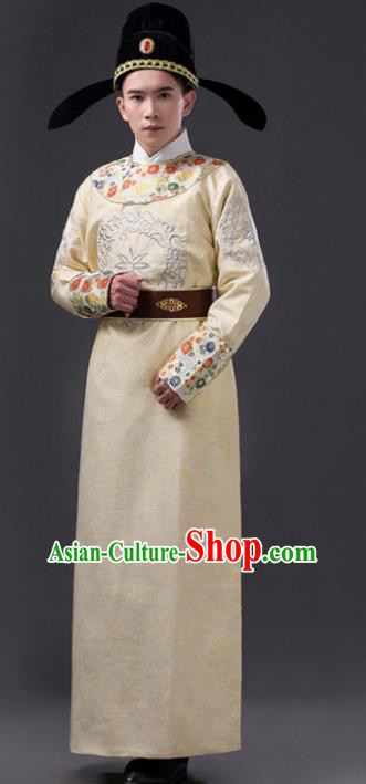 Traditional Chinese Tang Dynasty Prince Costume, China Ancient Minister Yellow Embroidered Robe Clothing for Men