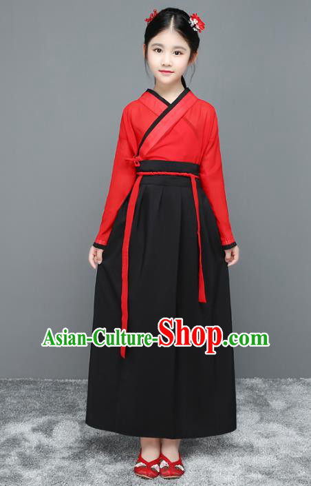 Traditional Chinese Han Dynasty Children Costume, China Ancient Hanfu Clothing for Kids