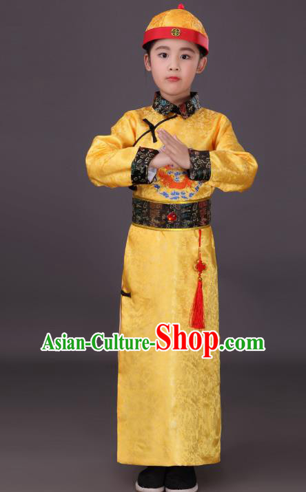 Traditional Chinese Qing Dynasty Children Emperor Costume, China Manchu Prince Yellow Embroidered Dragon Robe for Kids