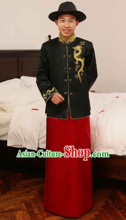Ancient Chinese Qing Dynasty Wedding Costume China Traditional Bridegroom Embroidered Black Toast Clothing for Men