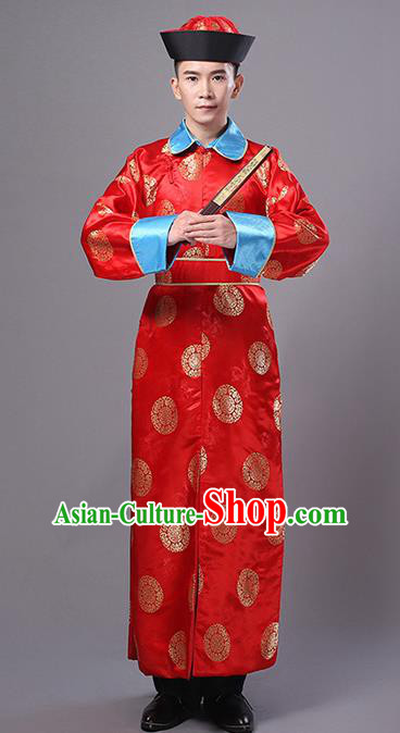 Traditional Ancient Chinese Qing Dynasty Prince Costume, China Manchu Imperial Bodyguard Mandarin Embroidered Robe for Men