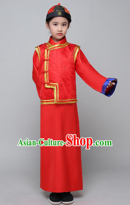 Traditional Ancient Chinese Qing Dynasty Children Prince Costume, China Manchu Bridegroom Mandarin Embroidered Robe for Kids