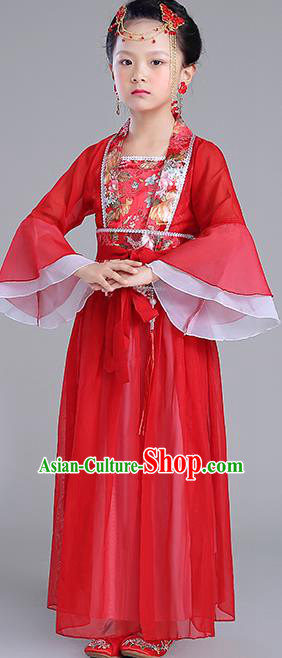 Traditional Chinese Tang Dynasty Princess Costume, China Ancient Fairy Embroidered Red Dress Clothing for Kids