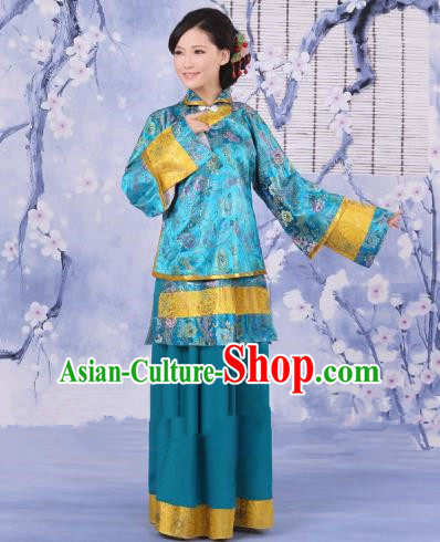 Traditional Chinese Republic of China Nobility Fairlady Costume, China Ancient Blue Xiuhe Suit Embroidered Clothing for Women