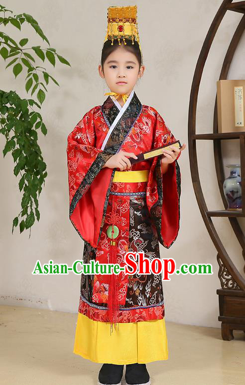Traditional Chinese Han Dynasty Children Emperor Costume, China Ancient Majesty Hanfu Red Embroidered Robe for Kids