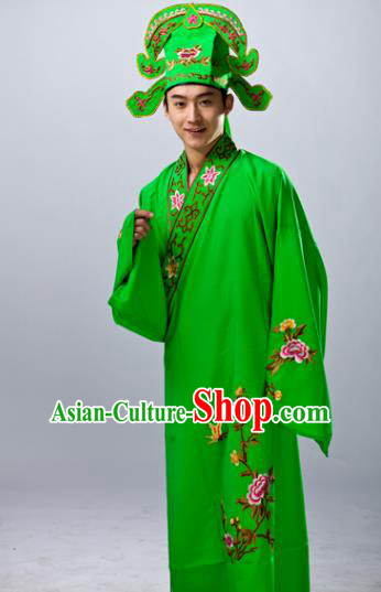 Traditional China Beijing Opera Costume Gifted Scholar Green Embroidered Robe, Chinese Peking Opera Niche Embroidery Clothing