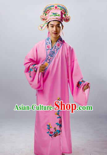 Traditional China Beijing Opera Costume Gifted Scholar Pink Embroidered Robe, Chinese Peking Opera Niche Embroidery Clothing