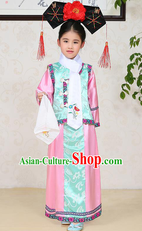 Traditional Chinese Qing Dynasty Children Princess Pink Costume, China Manchu Palace Lady Embroidered Clothing for Kids