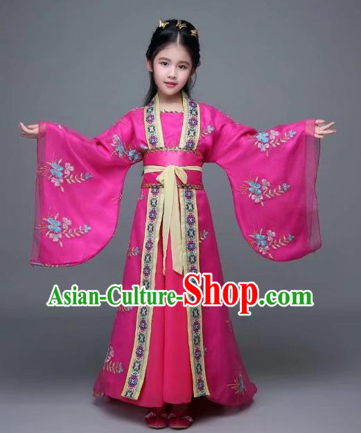 Traditional Chinese Tang Dynasty Palace Lady Embroidered Costume, China Ancient Imperial Concubine Hanfu Trailing Dress for Kids