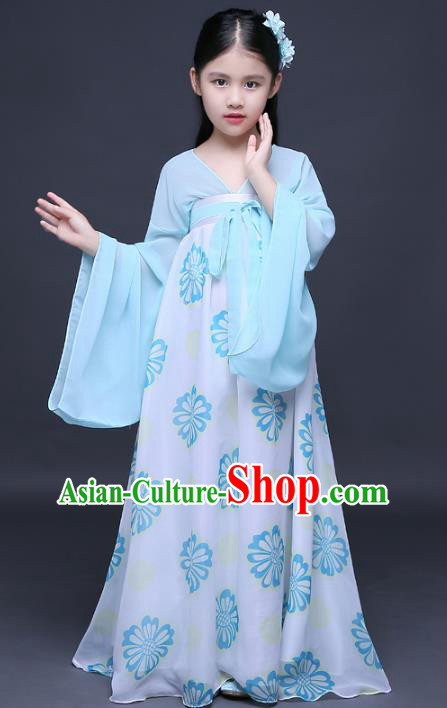 Traditional Chinese Tang Dynasty Imperial Princess Costume, China Ancient Palace Lady Hanfu Dress Clothing for Kids