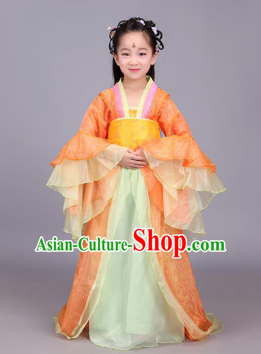 Traditional Chinese Tang Dynasty Palace Lady Orange Costume, China Ancient Imperial Consort Embroidered Hanfu Clothing for Kids