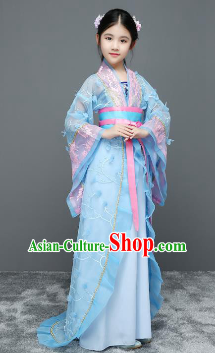 Traditional Chinese Tang Dynasty Palace Lady Costume Ancient Princess Trailing Dress for Kids