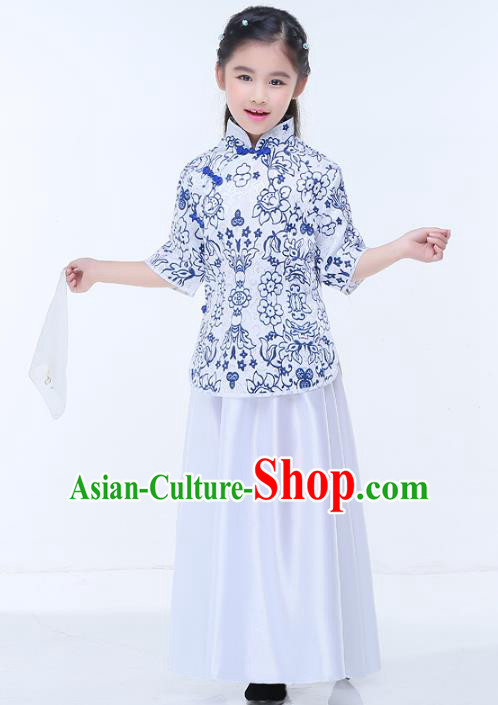 Traditional Chinese Republic of China Children Clothing, China National Embroidered White Blouse and Skirt for Kids