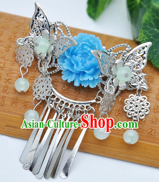 Traditional Handmade Chinese Ancient Classical Hair Accessories Butterfly Tassel Hairpins Hair Comb for Kids