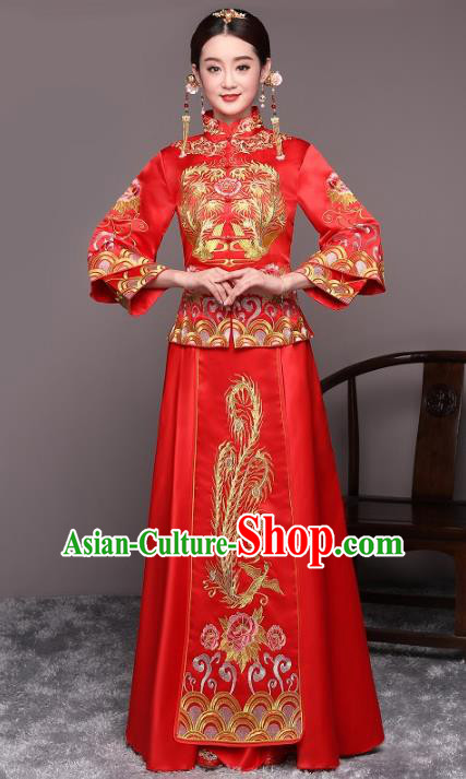 Traditional Chinese Wedding Costume Xiuhe Suits China Ancient Bride Embroidered Dragon Phoenix Clothing for Women