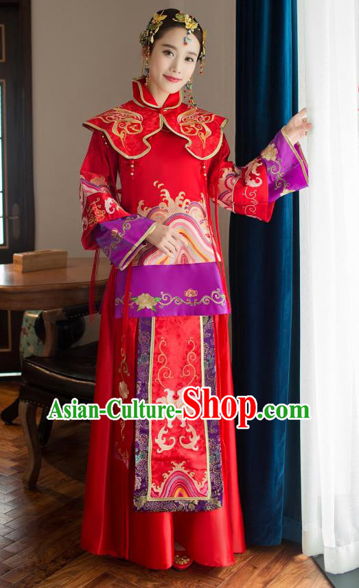 Chinese Traditional Wedding Bride Xiuhe Suit Costume, China Ancient Embroidered Tang Suit Toast Clothing for Women