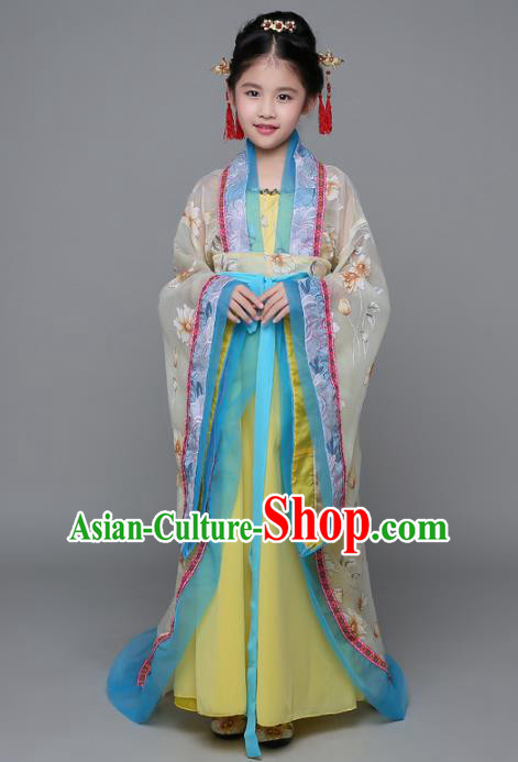 Traditional Chinese Ancient Imperial Concubine Costume, China Tang Dynasty Palace Lady Hanfu Embroidered Clothing for Kids