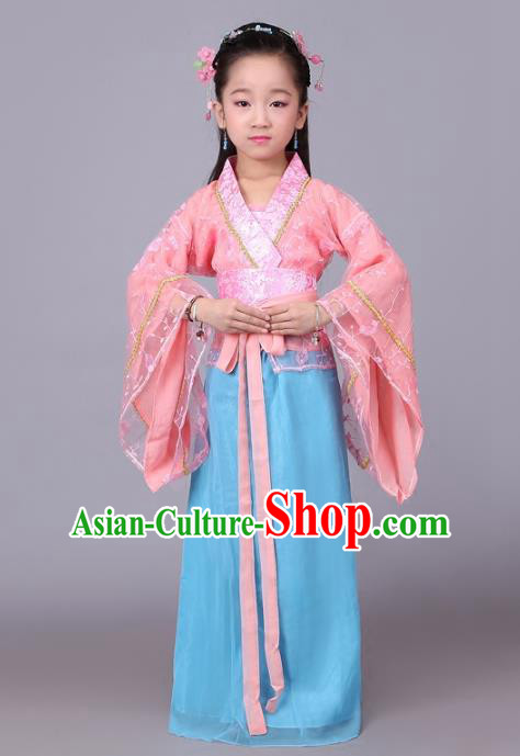 Traditional Chinese Han Dynasty Palace Lady Costume, China Ancient Princess Hanfu Dress Clothing for Kids