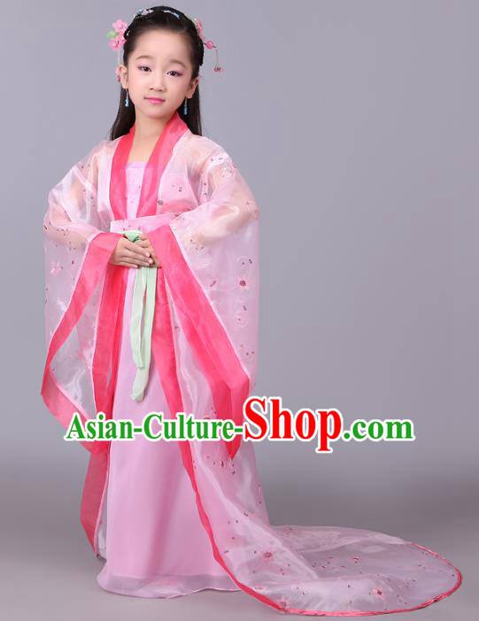 Traditional Chinese Tang Dynasty Princess Fairy Costume, China Ancient Imperial Consort Hanfu Dress Clothing for Kids