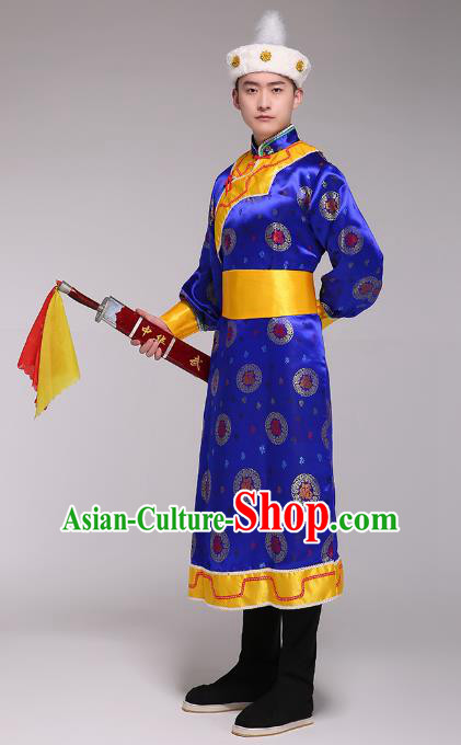 Traditional Chinese Mongol Nationality Dance Costume, Mongolian Minority Folk Dance Embroidery Blue Mongolian Robe for Men