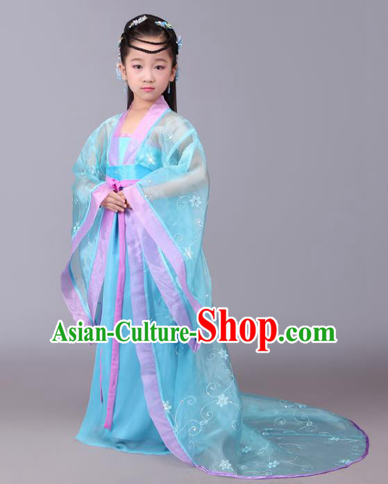 Traditional Chinese Tang Dynasty Royal Princess Costume, China Ancient Fairy Palace Lady Hanfu Dress Clothing for Kids