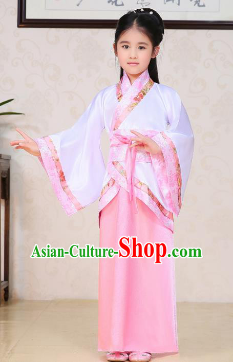 Traditional Ancient Chinese Han Dynasty Princess Costume, China Ancient Imperial Consort Embroidered Clothing for Kids