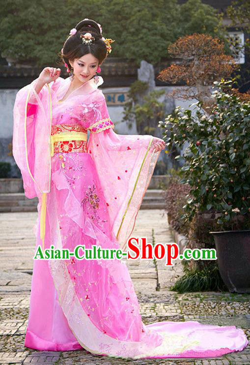 Traditional Ancient Chinese Imperial Consort Costume, China Tang Dynasty Palace Lady Trailing Embroidered Clothing for Women