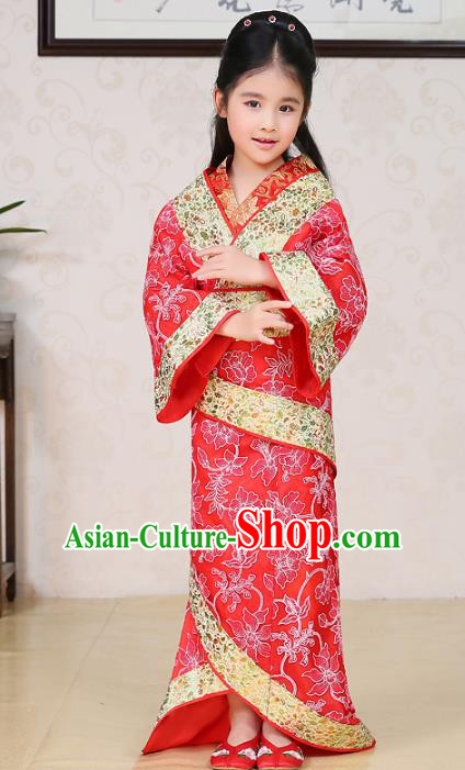 Traditional Chinese Han Dynasty Palace Lady Costume Red Curving-front Robe, China Ancient Princess Hanfu Clothing for Kids