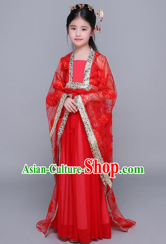Traditional Chinese Tang Dynasty Fairy Palace Lady Costume, China Ancient Princess Hanfu Red Dress Clothing for Kids