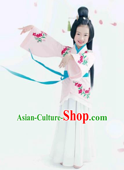 Traditional Chinese Han Dynasty Palace Lady Costume, China Ancient Princess Hanfu Curving-front Robe Clothing for Kids