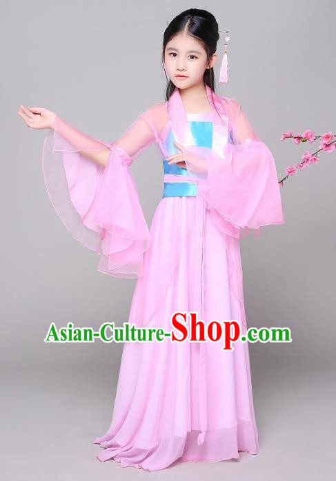 Traditional Chinese Tang Dynasty Princess Costume, China Ancient Fairy Hanfu Dress Clothing for Kids