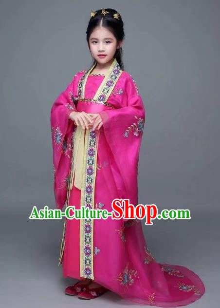 Traditional Chinese Ancient Imperial Concubine Trailing Costume, China Tang Dynasty Palace Lady Embroidered Clothing for Kids