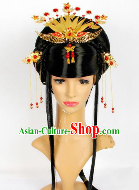 Traditional Handmade Chinese Classical Hair Accessories Hairpins Phoenix Coronet and Wig for Women