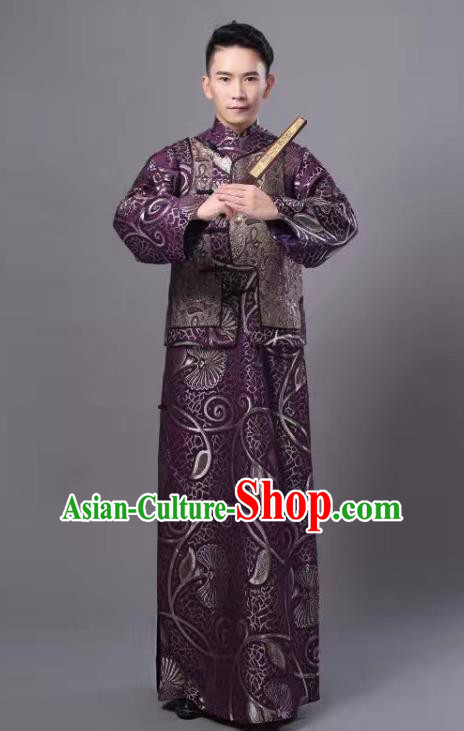 Traditional Chinese Qing Dynasty Royal Prince Costume, China Ancient Manchu Embroidered Robe and Mandarin Jacket for Men