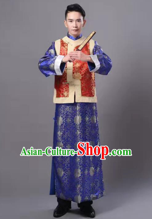 Traditional Chinese Ancient Royal Highness Costume, China Qing Dynasty Manchu Embroidered Robe and Mandarin Jacket for Men