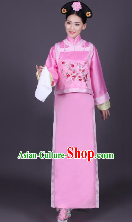 Traditional Chinese Ancient Imperial Princess Costume, China Qing Dynasty Manchu Palace Lady Embroidered Clothing for Women