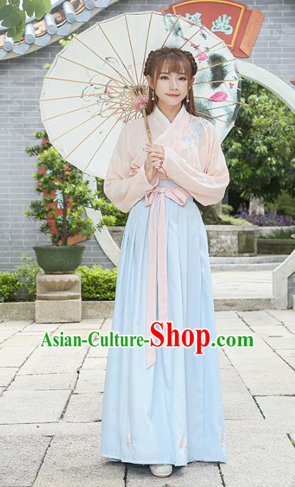 Traditional Chinese Ancient Han Dynasty Young Lady Embroidered Clothing for Women