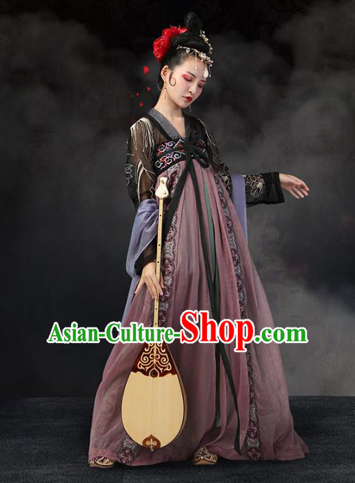 Traditional Chinese Ancient Imperial Concubine Dance Costume, China Tang Dynasty Princess Embroidered Clothing for Women