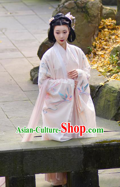 Traditional Chinese Jin Dynasty Palace Lady Princess Embroidered Costume for Women
