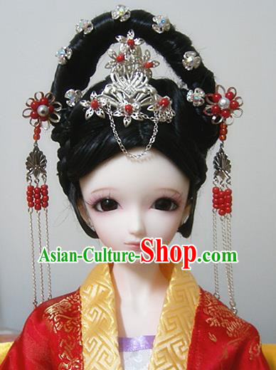 Traditional Handmade Chinese Ancient Tang Dynasty Palace Princess Hair Accessories Hairpins and Wig Sheath for Women
