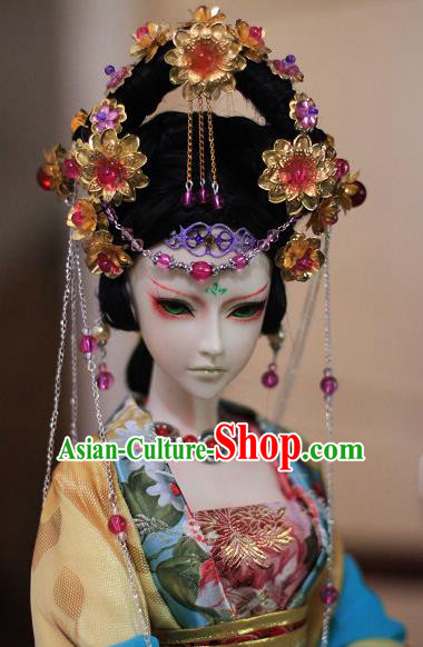 Traditional Handmade Chinese Ancient Tang Dynasty Imperial Concubine Hair Accessories Hairpins and Wig Sheath for Women