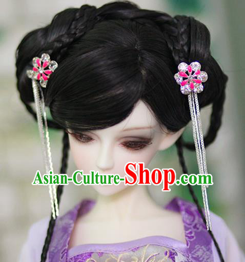 Traditional Handmade Chinese Ancient Tang Dynasty Nobility Lady Hair Accessories Wig Sheath for Women