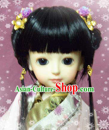 Traditional Handmade Chinese Ancient Han Dynasty Young Lady Hair Accessories Wig Sheath for Women