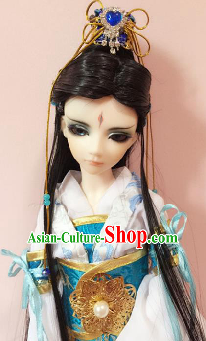 Traditional Handmade Chinese Ancient Tang Dynasty Swordsman Hair Accessories Nobility Childe Wig Sheath for Men